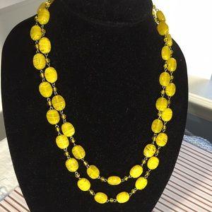 Jewelry - Yellow glass necklace, bracelets, earrings